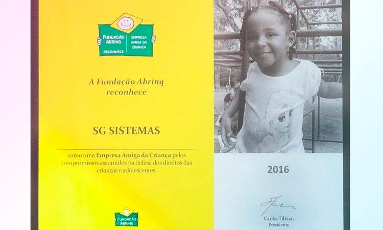 SG Sistemas recebe o selo de Empresa Amiga da Criança