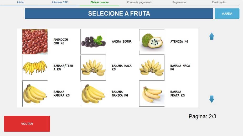self checkout selecionar fruta