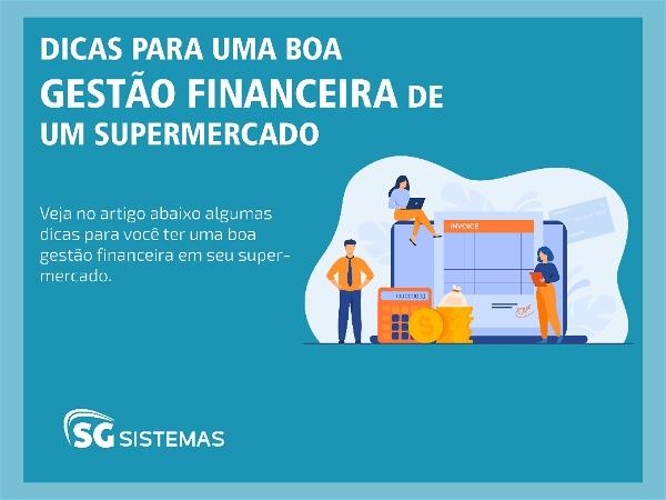 """Ilustração de pessoas trabalhando no setor financeiro de um supermercado junto da frase """"Dicas de gestão financeira de um supermercado"""""""