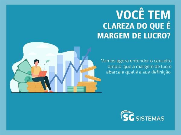 """Ilustração de mulher trabalhando com ícones financeiros ao fundo e a frase """"você tem clareza do que é margem de lucro?"""""""